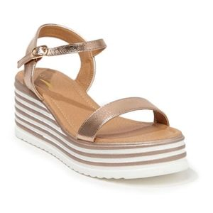 Rose Gold Striped Trim Wedge Platform Sandals sz 8
